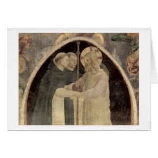 Cartão O cristo dá boas-vindas a dois frades
