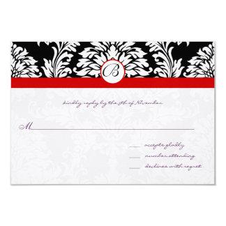 Cartão O damasco preto roda guarnição vermelha que