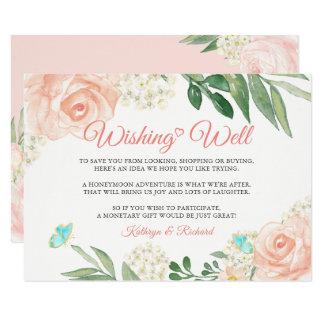 Cartão O desejo Wedding bem cora chique do pêssego floral
