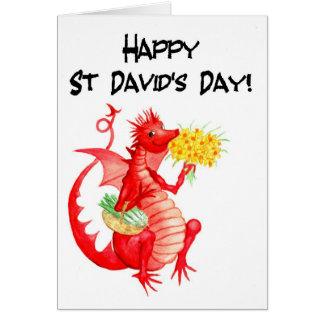 Cartão O dia bonito de St David vermelho dos Daffodils