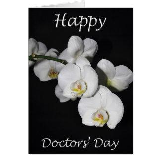 Cartão O Dia Branco Orquídea Flor dos doutores felizes