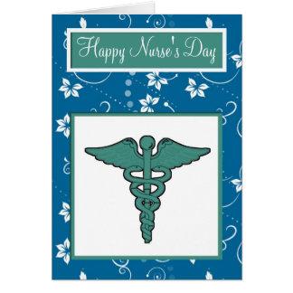 Cartão O dia da enfermeira feliz com símbolo médico dos