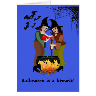 Cartão - o Dia das Bruxas, algo Brewin