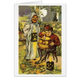 Cartão O Dia das Bruxas antiquado, lanterna do jaque-o'