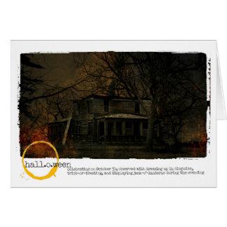 Cartão O Dia das Bruxas assombrou a fotografia da casa