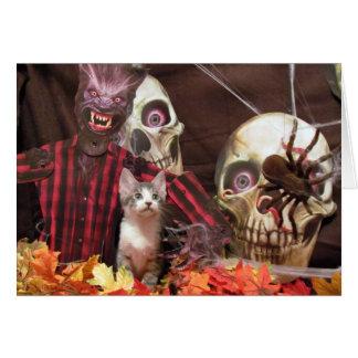 Cartão O Dia das Bruxas assustador de costeleta de carne