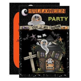 Cartão O Dia das Bruxas - casa assombrada bonito do