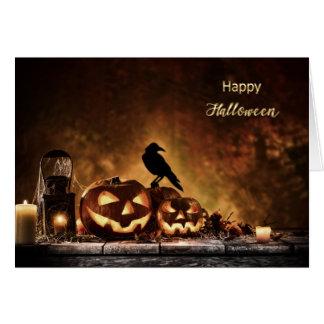 Cartão O Dia das Bruxas - cena assustador do Dia das