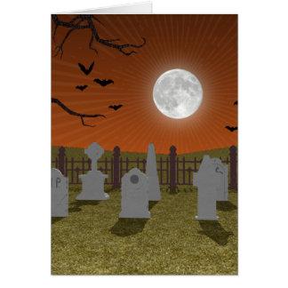 Cartão O Dia das Bruxas: Cena do cemitério: