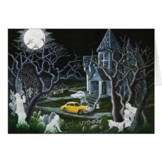 Cartão O Dia das Bruxas, cumprimento, cartão, fantasmas,