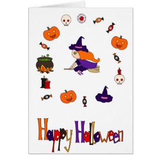 Cartão O Dia das Bruxas feliz
