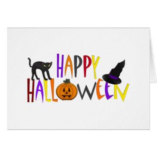 Cartão O Dia das Bruxas feliz colorido