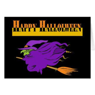 Cartão O Dia das Bruxas feliz com bruxa roxa