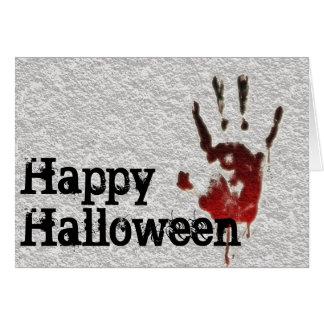 Cartão O Dia das Bruxas feliz Handprint sangrento