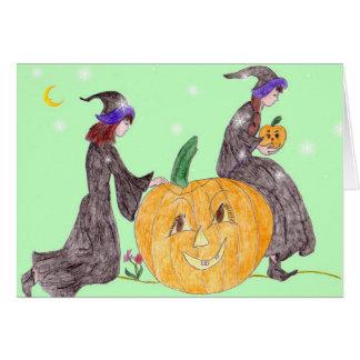 Cartão O Dia das Bruxas, guardas da abóbora