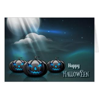 Cartão O Dia das Bruxas - lua assustador das abóboras do
