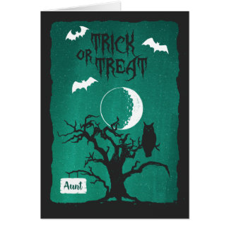 Cartão O Dia das Bruxas para a tia, lua da árvore da