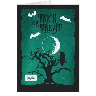 Cartão O Dia das Bruxas para o tio, lua da árvore da