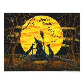 Cartão O Dia das Bruxas, partido, convite, bruxa, preto,