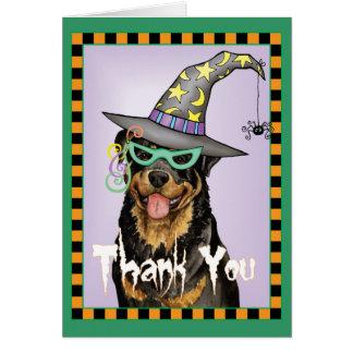 Cartão O Dia das Bruxas Rottweiler