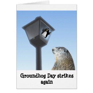 Cartão O dia de Groundhog golpeia outra vez