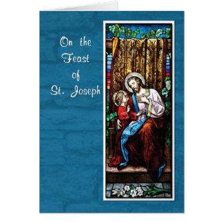 Cartão O dia de St Joseph com Jesus, no azul