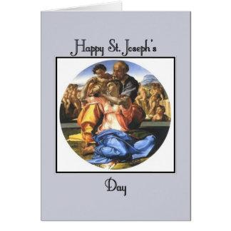Cartão O dia de St Joseph feliz azul