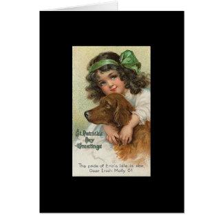 Cartão O dia de St Patrick da menina e do cão do vintage