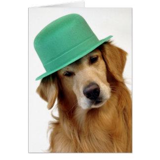 Cartão O dia de St Patrick do golden retriever