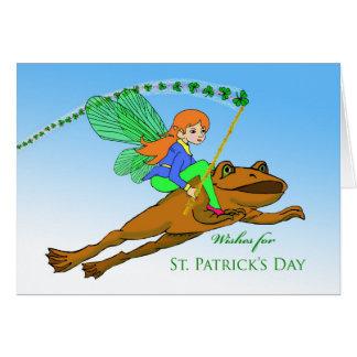 Cartão O dia de St Patrick para a neta, fada no sapo