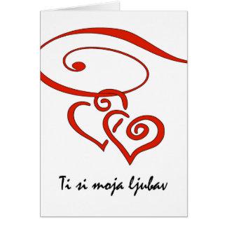 Cartão O dia dos namorados no croata, corações roda junto