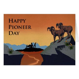 Cartão O dia pioneiro, Handcart abre caminho a silhueta,