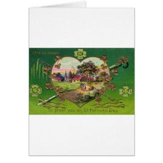 Cartão O dia retro de St Patrick do irlandês do vintage