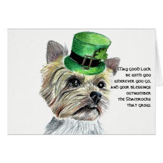 Cartão O dia Yorkie de St Patrick com chapéu de Leprchaun