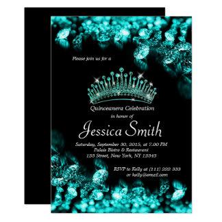 Cartão O diamante bonito Quinceañera de turquesa convida