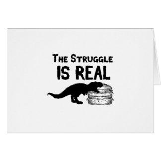 Cartão o dinossauro T Rex o Struggl é Hamburger real