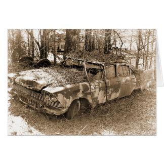 Cartão O divórcio, humor, vintage destruiu o carro