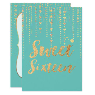 Cartão O doce 16 de PixDezines, cordas douradas dos