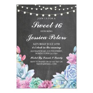Cartão O doce 16 Succulents dos Pastels do aniversário