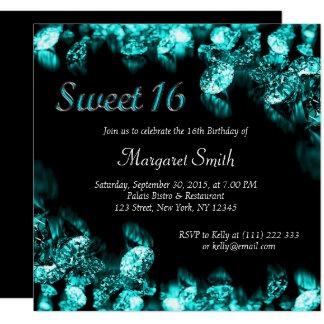 Cartão O doce bonito 16 do diamante de turquesa convida