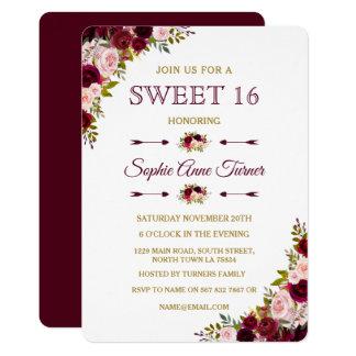 Cartão O doce floral elegante 16 de Borgonha Marsala