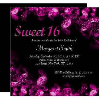 Cartão O doce magenta bonito 16 do diamante convida