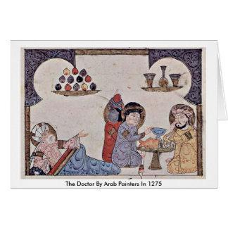 Cartão O doutor Árabe Pintor em 1275