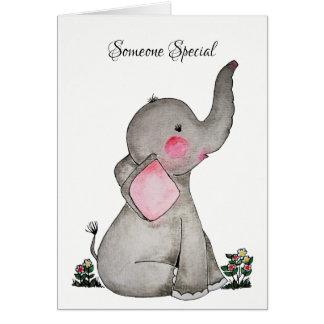 Cartão O elefante bonito do bebê da aguarela com cora &
