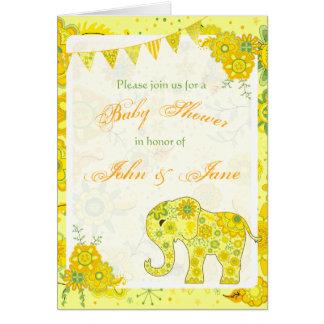 Cartão O elefante do chá de fraldas floresce o modelo