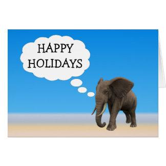 Cartão O elefante do feriado feliz