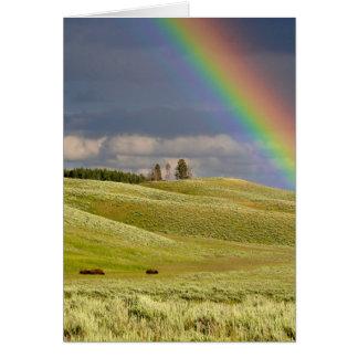 Cartão O escritório dos céus do arco-íris personaliza