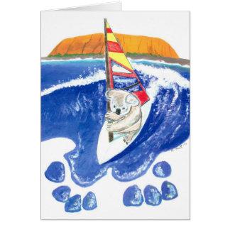 Cartão O espírito de Austrália - surfar do vento do urso