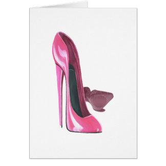 Cartão O estilete cor-de-rosa calça a arte