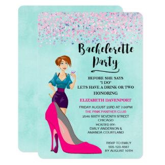 Cartão O estilete e o party girl cor-de-rosa Bachelorette